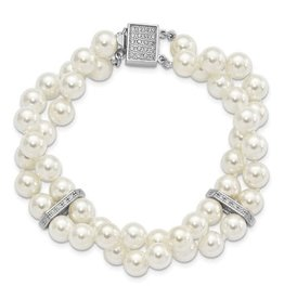 Sterling Silver White Shell Pearl and CZ Bracelet