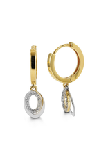 10K Two Tone Yellow and White Gold CZ Dangle Earrings