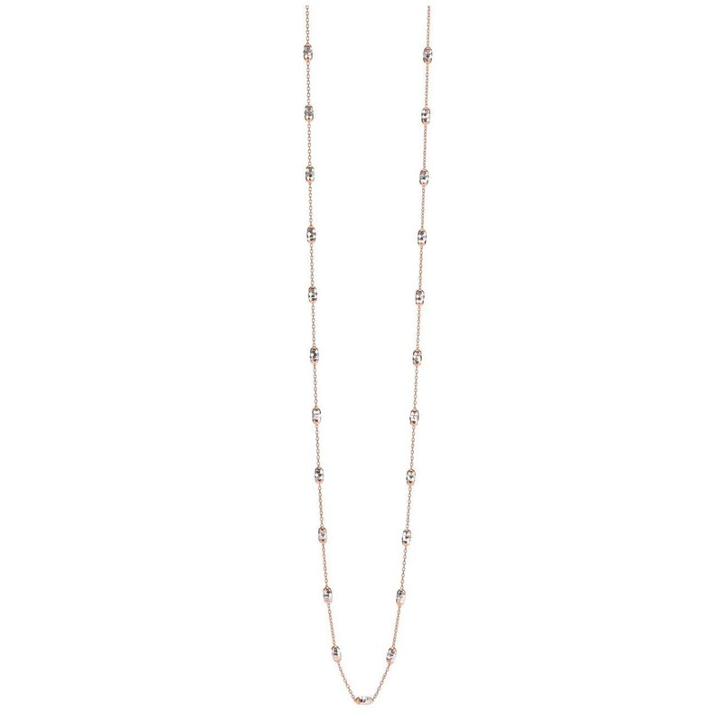 10K Rose and White Gold Mirror Cut Beaded Necklace