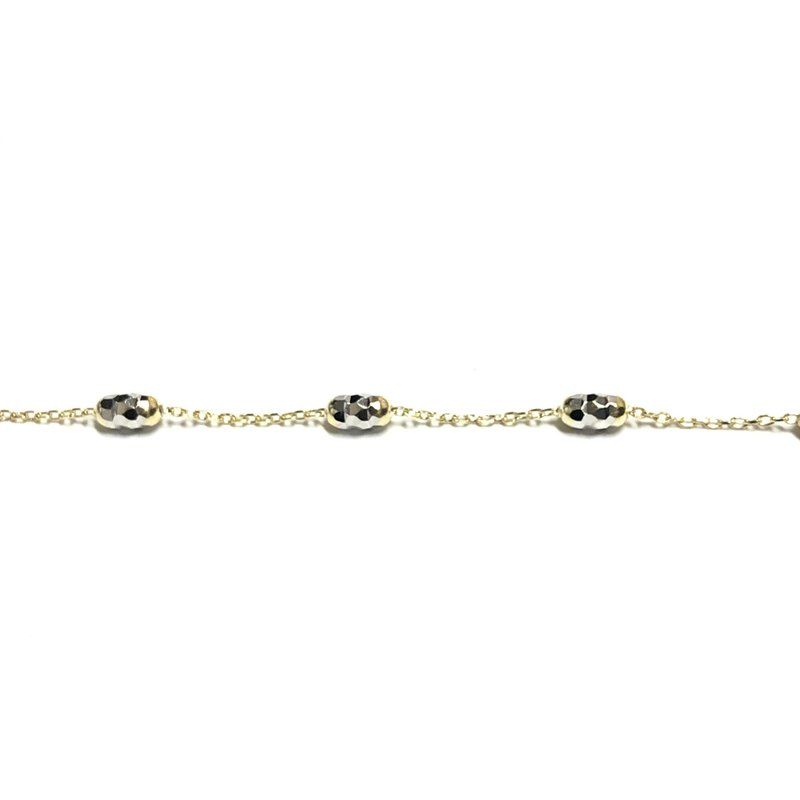 10K Yellow and White Gold Mirror Cut Beaded Necklace
