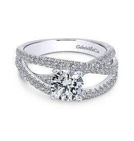 Gabriel & Co Gabriel & Co 14K White Gold Free Form Diamond Mount Engagement Ring