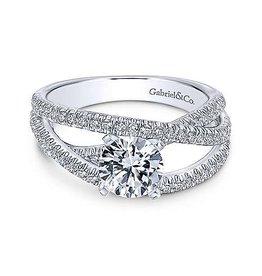 Gabriel & Co Gabriel & Co Mackenzie 14K White Gold Free Form Diamond Mount Engagement Ring