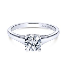 Gabriel & Co Gabriel & Co 14K White Gold Round Solitare  Mount Engagement Ring