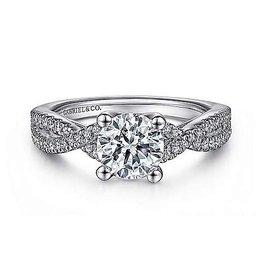 Gabriel & Co Gabriel & Co Gina 14K White Gold Round Twisted Diamond Semi Mount Engagement Ring