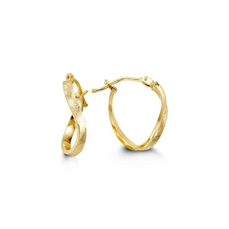 10K Yellow Gold Contemporary Hoop Earrings