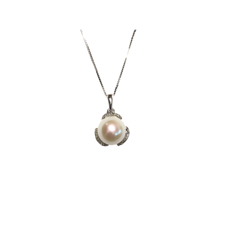 10K White Gold Pearl & Diamond Pendant