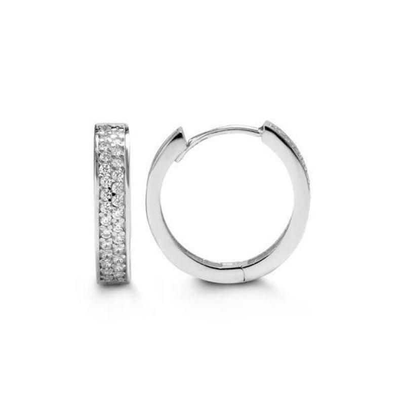 10K White Gold (14mm) CZ Huggie Earrings