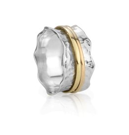 MeditationRings Meditation Ring Breeze Sterling Silver and 9K Yellow and Rose Gold Plated Spinning Band