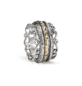 MeditationRings Meditation Ring Brook Sterling Silver and 9K Yellow Gold Plated Spinning Band