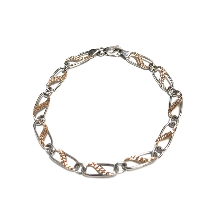 10K White and Rose Gold Fancy Ladie's Bracelet