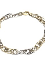 10K Yellow and White Gold Facy Link Bracelet
