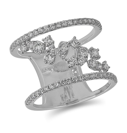 14K White Gold (0.81ct) Floating Diamonds Fancy Wide Band Ring