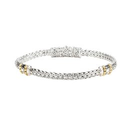 Keith Jack Keith Jack Sterling Silver and 18K Yellow Gold Dragon Weave Eternity Bracelet