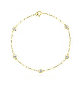 Sterling Silver Yellow Gold Plated Designer CZ Yard Ankle Bracelet
