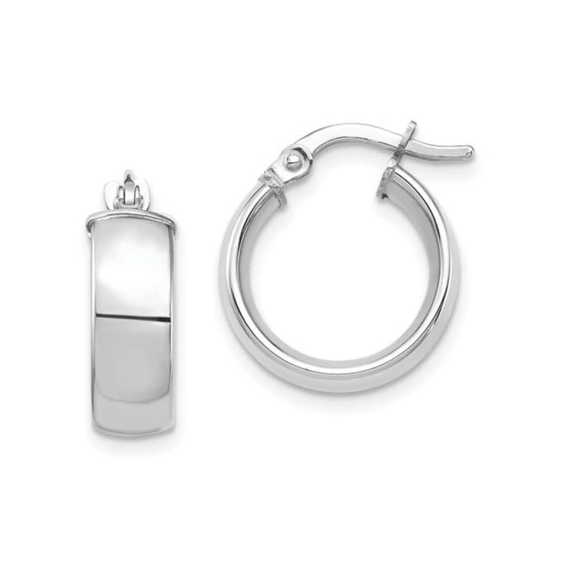 10K White Gold (5.0mm) High Polished Hoop Earrings