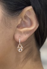 Fire and Ice 10K Rose Gold (0.23ct) Morganite Canadian Diamond Dangle Earring