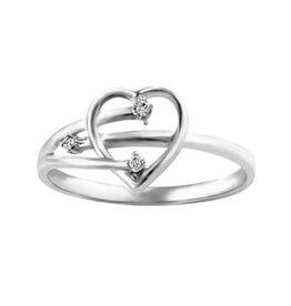 10K White Gold (0.015ct) Diamond Heart Ring