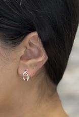 10K White Gold Garnet and Diamond Earring Studs