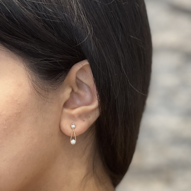 10K Yellow & White Gold (0.06ct) Diamond Dangle Earrings