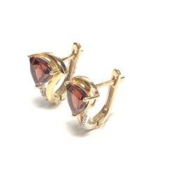 10K Yellow Gold Garnet and Diamond Earrings