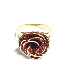 10K Yellow Gold Red Enamel 3D Rose Ring