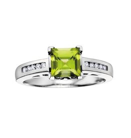 10K White Gold Princess Cut Peridot and Diamonds Ring