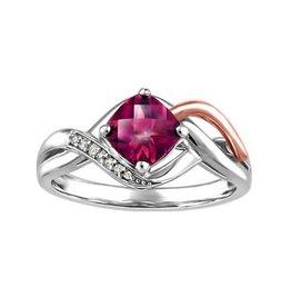 10K White and Rose Gold Rhodalite Garnet and Diamonds Ring