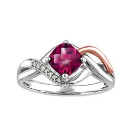 10K White and Rose Gold Rhodalite Garnet Diamond Ring