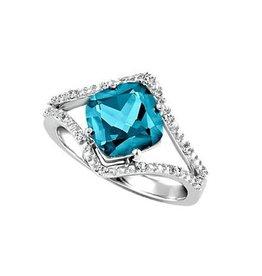 10K White Gold Teal Topaz and Diamond Ring