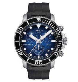 Tissot Seastar 1000 Chronograph Men's Silver Tone Blue Dial Black Rubber Strap Watch