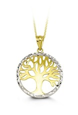 10K Two Tone Yellow and White Gold Diamond Cut Tree of Life Necklace