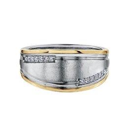 Crown Ring White and Yellow Gold (0.12ct) Mens Diamond Ring (10K, 14K)