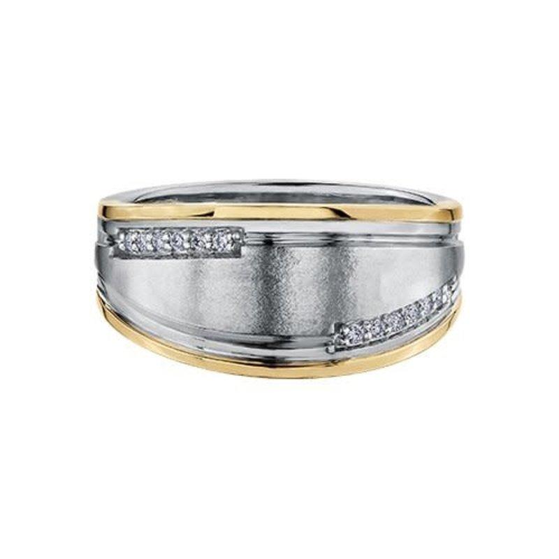 Crown Ring (10K, 14K) White and Yellow Gold (0.12ct) Diamond Men's Ring