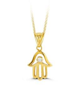 10K Yellow Gold CZ Hamsa Necklace