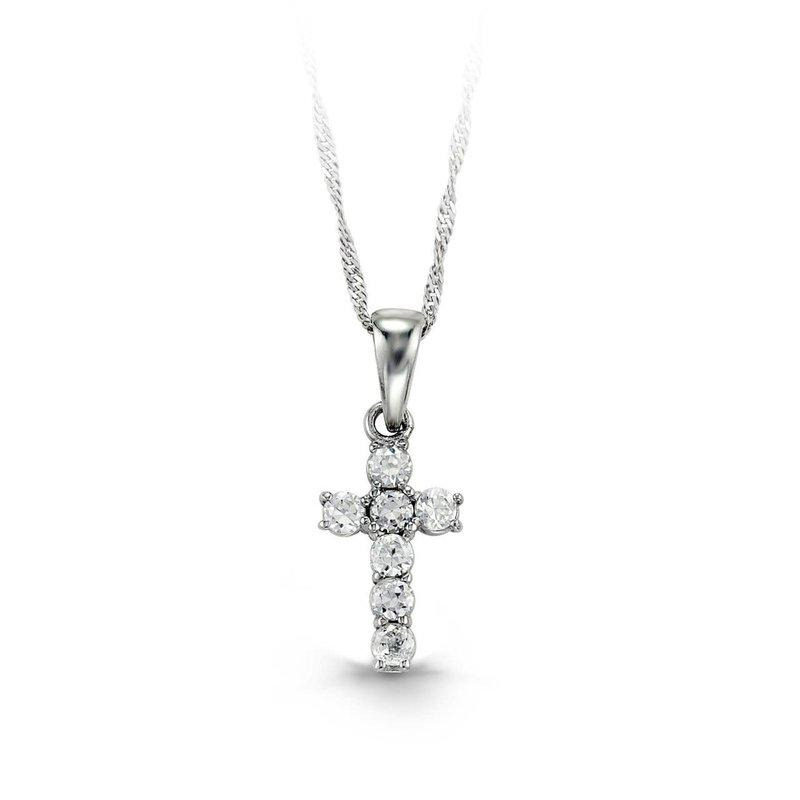 10K White Gold CZ Baby Cross Necklace