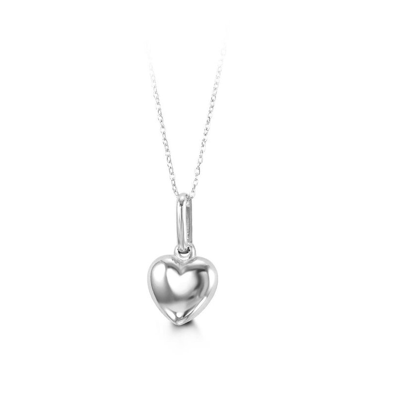 10K White Gold Puff Heart Baby Necklace