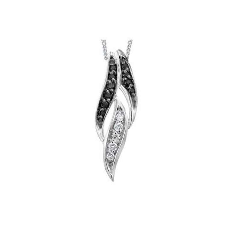 10K White Gold (0.10ct) Black & White Diamond Pendant