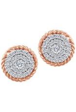 10K Rose Gold (0.18ct) Canadian Diamond Double Halo Stud Earrings