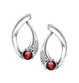 10K White Gold Garnet and Diamond Stud Earring