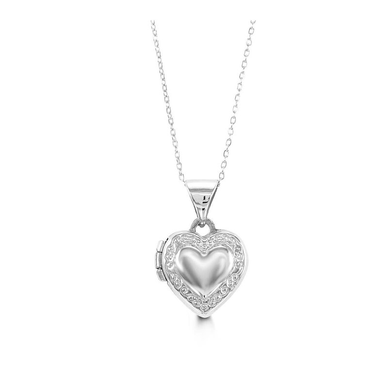 10K White Gold Baby Heart Locket