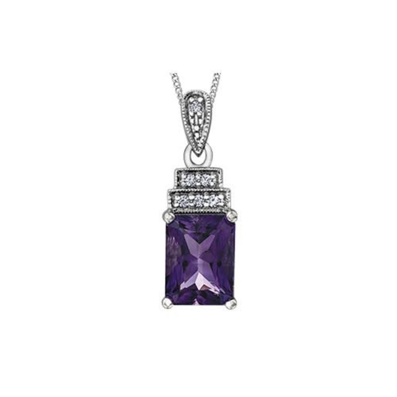 10K White Gold Amethyst and Diamond Pendant