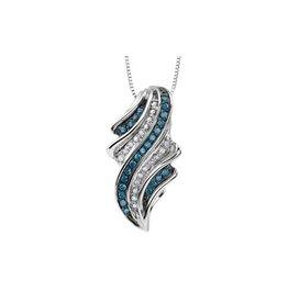 10K White Gold (0.33ct) Blue and White Diamond Pendant