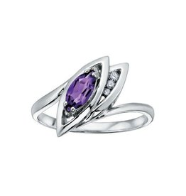 10K White Gold Marquise Shape Amethyst and Diamonds Ring