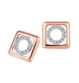 10K Rose and White Gold (0.08ct) Geometric Diamond Earrings