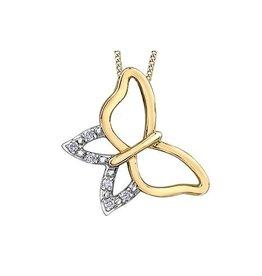 10K Yellow Gold (0.03ct) Diamond Butterfly Pendant