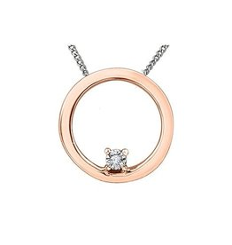 10K Rose and White Gold (0.01ct) Circle Diamond Pendant