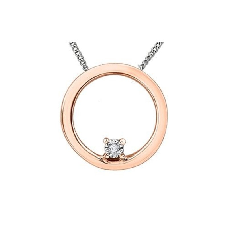 10K Rose and White Gold (0.01ct) Circle Diamond Pendant