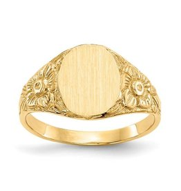 14K Yellow Gold (10x8mm) Closed Back Oval Floral Signet Ring