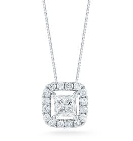 14K White Gold (0.76ct) Princess Cut Halo Diamond Pendanr