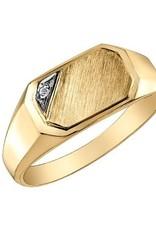 10K Yellow Gold (0.01ct) Diamond Men's Signet Ring